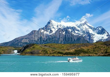 Scenic View Of Pehoe Lake And Salto Grande Waterfall In Torres Del Paine National Park Of Chile