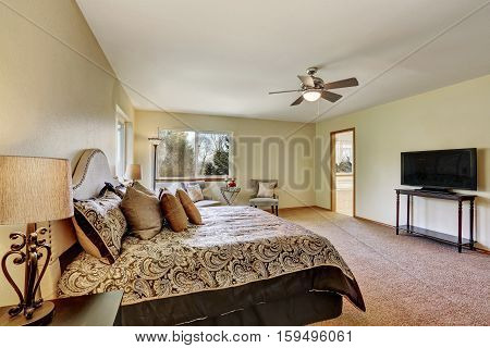 Master Bedroom Interior With King Size Bed  And Television
