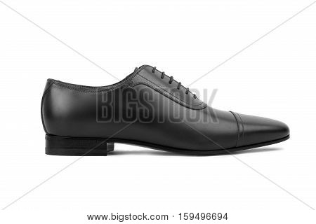 Black Leather Male Shoes, On White Background