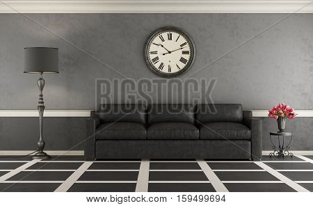 Classic Living Room With Leather Sofa
