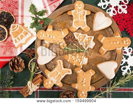 Gingerbread Cookies With Spices And Christmas Decoration.