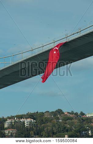 Turkish flag waving hanged from 15th July Martyrs Bridge (Formerly Bosphorus Bridge)