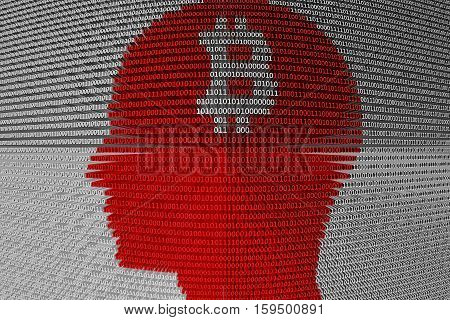 bitcoin presents the binary code 3d illustration in a human profile