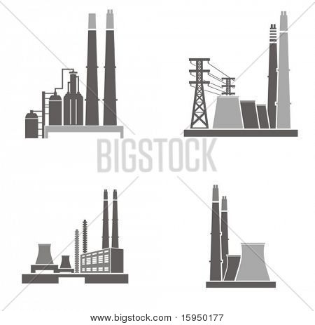Vector illustrations of industrial buildings.