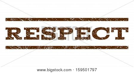 Respect watermark stamp. Text caption between horizontal parallel lines with grunge design style. Rubber seal brown stamp with scratched texture. Vector ink imprint on a white background.