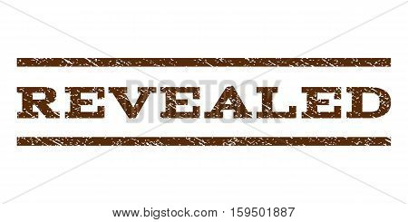 Revealed watermark stamp. Text tag between horizontal parallel lines with grunge design style. Rubber seal brown stamp with dirty texture. Vector ink imprint on a white background.