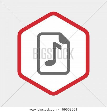 Isolated Hexagon With  A Music Score Icon
