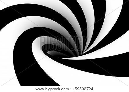 black hole black and white 3d illustration