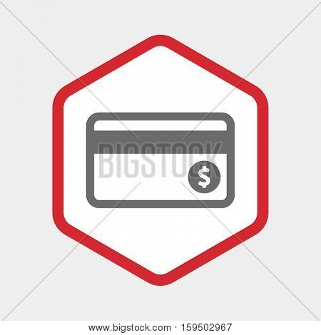 Isolated Hexagon With  A Credit Card