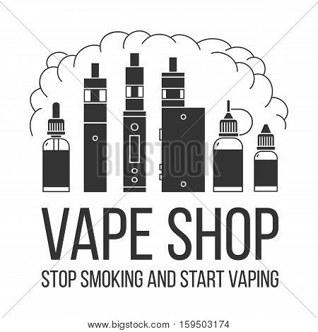 Vector illustration of vape and accessories for vape shop e-cigarette store. Vape icons set Isolated on white background. Stop smoking and start vaping