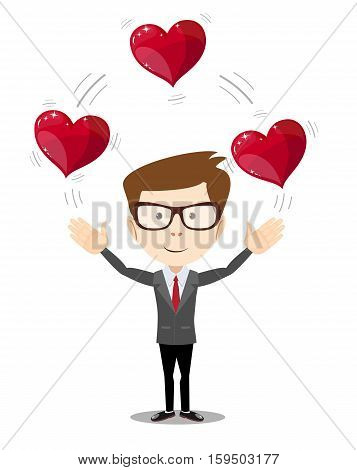 Business man juggling hearts . Stock vector illustration