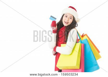 Isolated Portrait Of Shopper With Gift Bags Credit Card