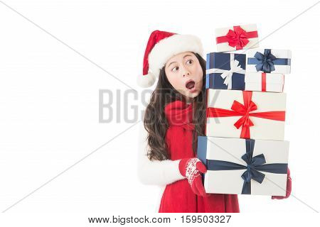 Christmas Woman Surprised Looking Many Gifts And Happy