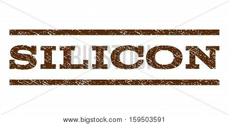 Silicon watermark stamp. Text tag between horizontal parallel lines with grunge design style. Rubber seal brown stamp with dust texture. Vector ink imprint on a white background.