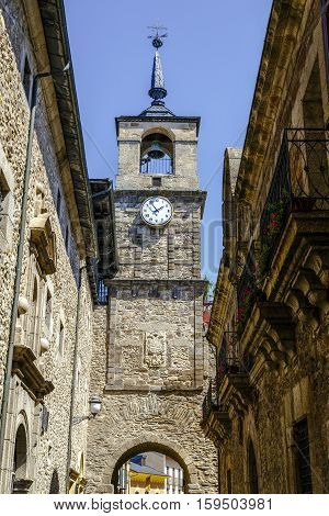 Clock Tower is located on the Arco de la Eras located on one of the gates of the medieval wall unique that is conserved Ponferrada Spain