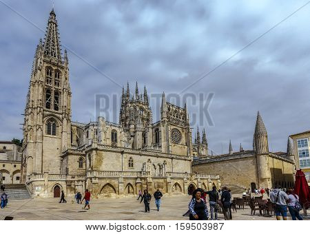 Burgos Spain - August 29 2016: Cathedral in Burgos Spain which is under protection of UNESCO