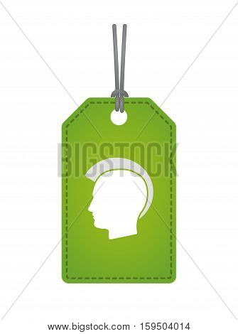 Isolated Label With  A Male Punk Head Silhouette