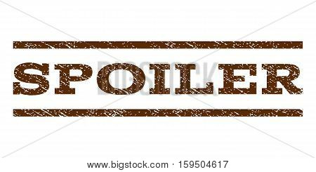 Spoiler watermark stamp. Text caption between horizontal parallel lines with grunge design style. Rubber seal brown stamp with dust texture. Vector ink imprint on a white background.