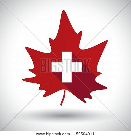 Isolated  Leaf With   The Swiss Flag