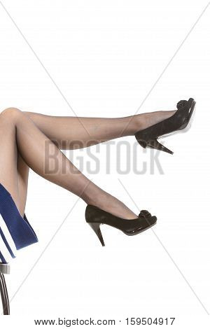 Female Legs In Tights And High Heels