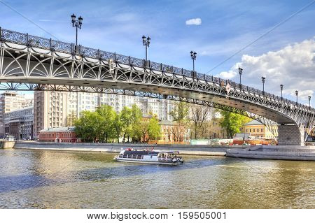 MOSCOW RUSSIA - May 02.2016: River Moskva and Patriarshy bridge in the historical center of city