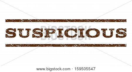 Suspicious watermark stamp. Text tag between horizontal parallel lines with grunge design style. Rubber seal brown stamp with unclean texture. Vector ink imprint on a white background.