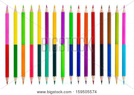Color pencils isolated on white background with Clipping path.Beautiful color pencils.Color pencils for drawing.