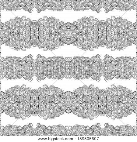 Seamless doodle uncolored floral pattern, raster illustration.