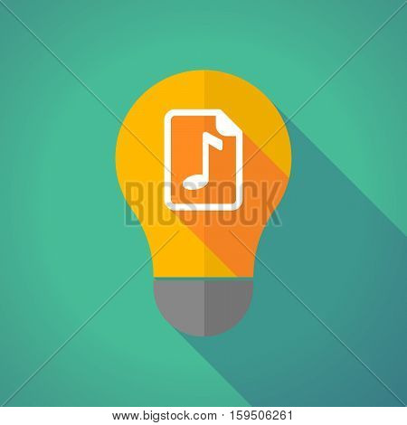 Long Shadow Bulb With  A Music Score Icon