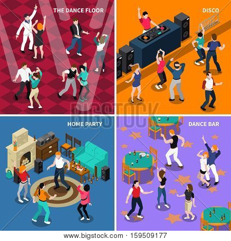 Dancing people movements 4 isometric icons composition with disco bar floor and home party isolated vector illustration