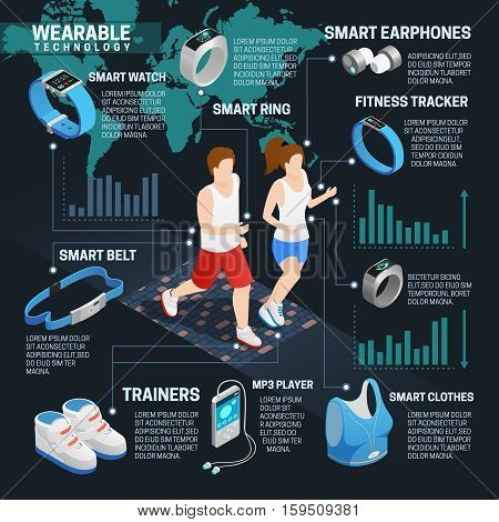 Wearable technology isometric infographics set with running people and digital gadgets vector illustration