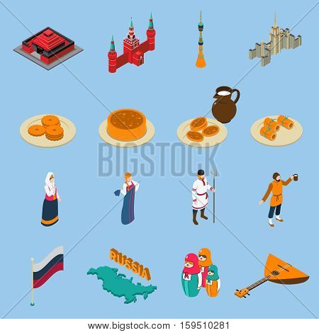 Russia isometric touristic icons set of famous buildings traditional russian cuisine national constumes and symbols isolated vector illustration
