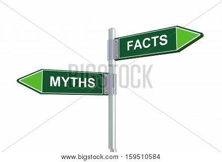 3D Facts And Myths Road Signpost