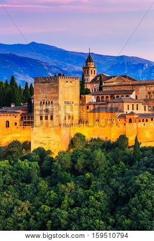 Alhambra of Granada Spain. Alhambra fortress at twilight.