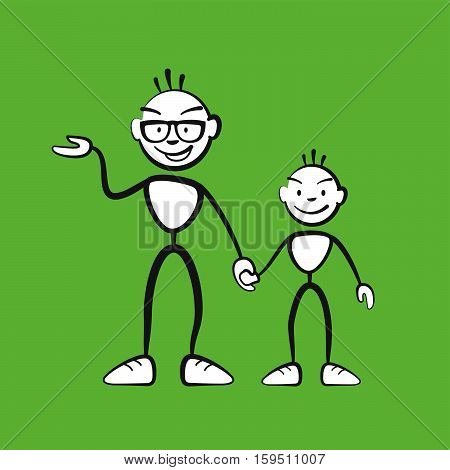 Man And Boy Explaining Situation Colored Background
