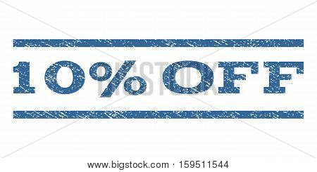 10 Percent Off watermark stamp. Text caption between horizontal parallel lines with grunge design style. Rubber seal cobalt blue stamp with unclean texture. Vector ink imprint on a white background.