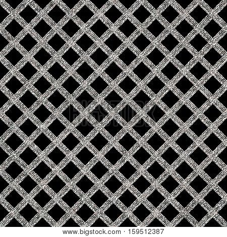 Silver seamless pattern cage, silvery shiny background of diagonal stripes or lines, hand painted vector for invitation, card, wedding, holiday, web, paper, wrapping