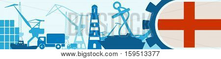 Cargo port relative icons set. Genoa flag in gear. Vector illustration for web banner or header