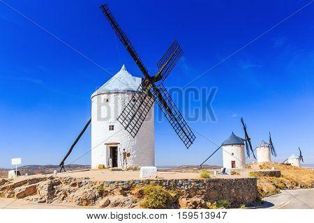 Cosuegra Spain. Windmills of Don Quixote in Toledo province.