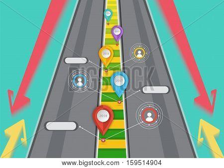Road targeted Business symbol arrow vector illustration