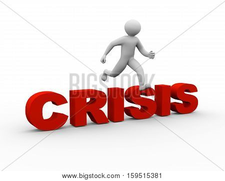 3D Man Jumping Over Crisis