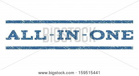 All-In-One watermark stamp. Text tag between horizontal parallel lines with grunge design style. Rubber seal cobalt blue stamp with dust texture. Vector ink imprint on a white background.