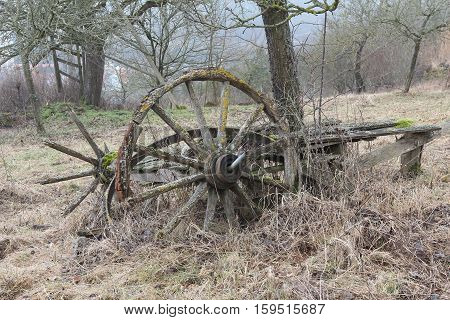 Old wagon / Old wagon lays in the field