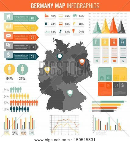 Germany map with Infographic elements. Infographics layouts. Vector illustration
