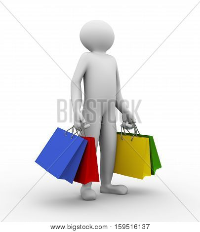 3D Man With Shopping Bag