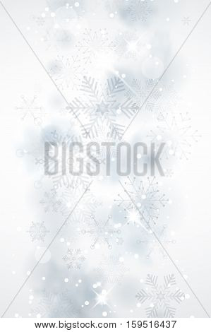 Winter Abstract Background With Snowflakes And Shines