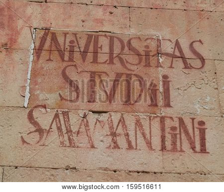 Universidad de Salamanca University sign in Spain exterior image shot from public floor