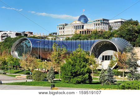 Symbols of modern Tbilisi capital of Georgia