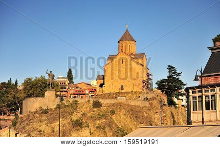 Metekhi Church and statue of King Vakhtang Gorgasali on sunset Tbilisi Georgia