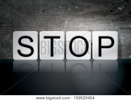 Stop Tiled Letters Concept And Theme